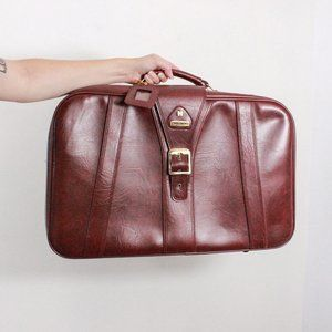 Vintage Holiday Leather Suit Case
